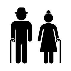 Senior couple with walking cane. Senior men and women. Vector illustration