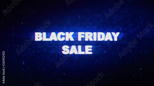 Black Friday Sale Text Digital Noise Twitch and Glitch Effect Tv
