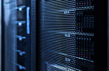 Big data server rack with hard drives close up