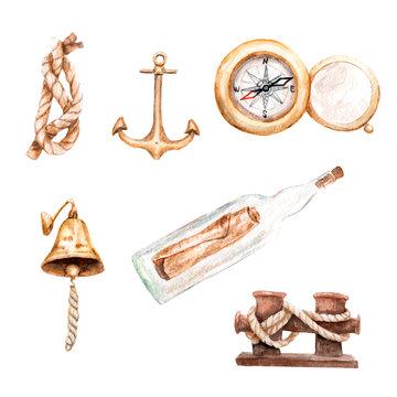 watercolor drawings sea voyage, yachting, sailing, travel