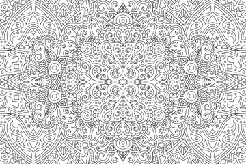 Beautiful adult coloring book page with abstract vintage linear monochrome pattern