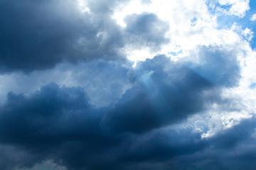 Dramatic stormy dark cloudy sky.  Rainy season.