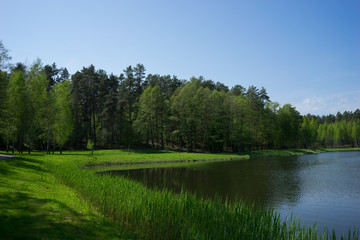 Tuinposter Rivier Lake landscape in Lithuania