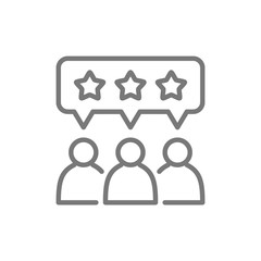 People with star bubbles, rating, feedback, reputation line icon.