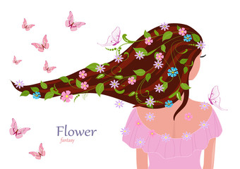 Fototapete - fashion girl with leaves and flowers in her hair for your design
