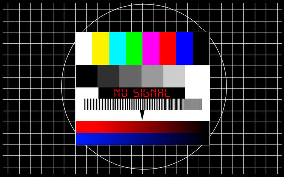 TV test pattern with caption no signal, offline, disturbance, error sign, concept,metaphor, vector