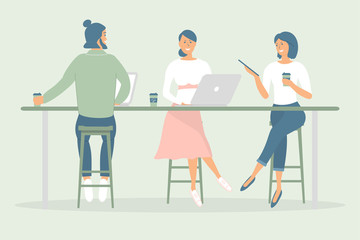 Women and man friends or colleagues sitting at desk in modern office or cafe,working at notebook and tablet,have coffee, talking.Effective and productive teamwork.Hand drawn style vector illustrations