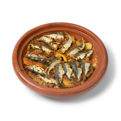 Wall Mural - Traditional  Moroccan Tagine with stuffed sardines and vegetables