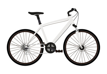 Vector illustration of a mountain or cross bike in a flat style isolated on a white background. Well detailed.