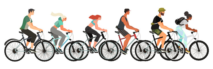 Vector illustration of men and woman riding bicycles isolated on a white background. A set of young, healthy and happy people on their bikes keeping a healthy lifestyle.