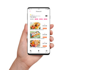 Female hand holding smartphone with food delivery app, isolated on white background