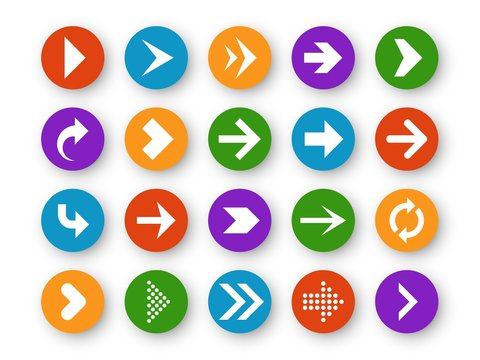 Arrows button. Arrow icon up next back down left website play navigation cursor interface upload page arrowheads, color vector buttons