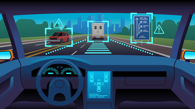 Future autonomous vehicle. Driverless car interior futuristic autonomous autopilot sensor system gps road, cartoon vector concept