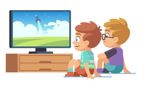 Kids watch tv. Children movie home boy girl watches tv set displaying picture screen character electric monitor cartoon vector concept