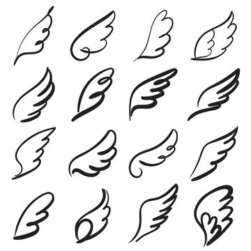 Sketch angel wings. Angel feather wing, bird tattoo silhouette. Linear fly winged angels, heaven hand drawn doodle vector icons