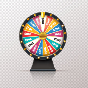 Wheel fortune. Casino prize lucky game roulette, win jackpot money lottery circle. Chance winner gamble wheel 3d realistic vector