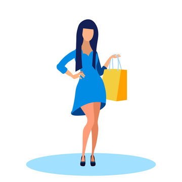 Young Woman in Fashionable Dress Flat Illustration