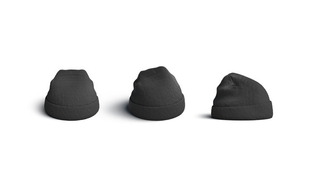 Black beanie mockups set, side, front and back view isolated, 3d rendering. Empty gray knitted wear sport hat mockup. Clear casual cap for winter. Blank grey textile fashion clothing template.