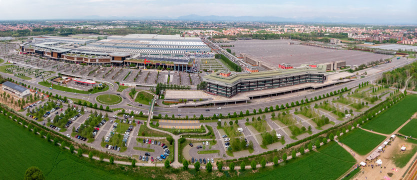 Aerial view of the Arese shopping center. The center. Shopping pole, famous brands. Alfa Romeo complex, the plant was one of the production sites of the Italian car. 04/21/2019. Arese. Milan, Italy