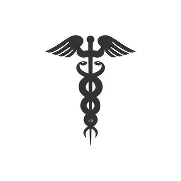 Caduceus medical symbol icon isolated. Medicine and health care concept. Emblem for drugstore or medicine, pharmacy snake symbol. Flat design. Vector Illustration