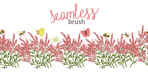 Vector  border brush with wild flowers and insects. Repeat border pattern with heather, camomile butterfly, moth, bumblebee, bee in cartoon style.