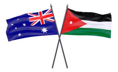 Australia and Jordan, two crossed flags isolated on white background. 3d image