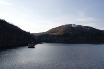 Czech Jirkov dam in Ore mountains at spring evening on 4. april 2019