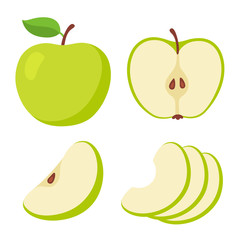 Green apple cartoon set