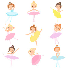 Cute Little Ballerinas Dancing Set, Lovely Girls Ballet Dancers Characters in Tutu Dress Vector Illustration