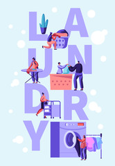 Male and Female Characters Loading Dirty Clothes to Washing Machine in Public Launderette, Ironing Clothes, Rolling Cart, Laundry Concept Poster, Banner, Brochure. Cartoon Flat Vector Illustration