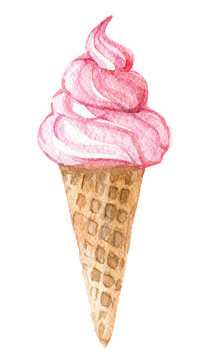 Pink ice cream in the cone isolated on white background, watercolor illustration