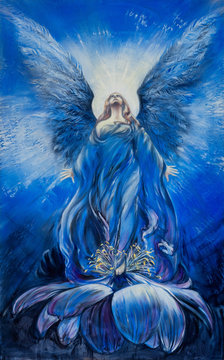 Majestic blue angel of love in a lotus flower looks up in the radiance to the divine sky
