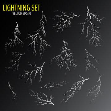 Set of various white cracks and lightning bolts