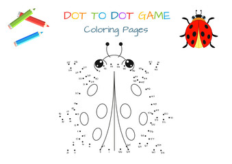 Funny little ladybug. Copy the picture. Coloring book. Educational game for children. Cartoon vector illustration