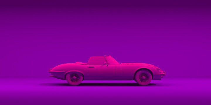 Vintage toy car on color background. Neon minimalism design poster. Rental car for travel. 3D illustration