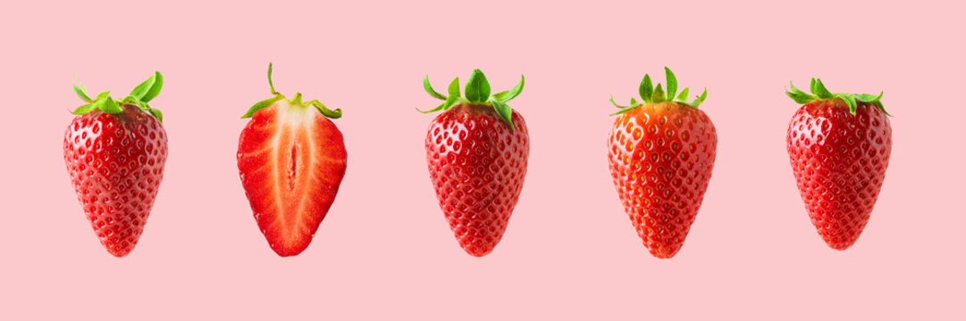 Different strawberries on bright background. Minimal food concept.