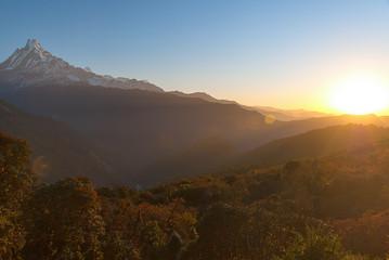 Tuinposter Bergen Amazing sunrise in the Himalayas, Nepal