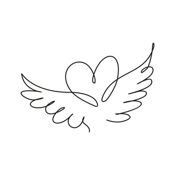 Heart with wings thin line