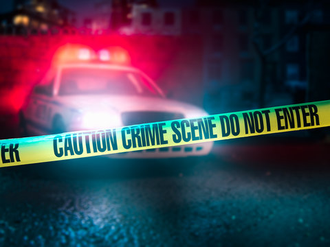 high contrast image of a crime scene