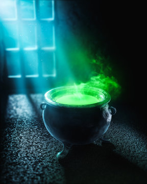 3D illustration of a witches cauldron with green potion