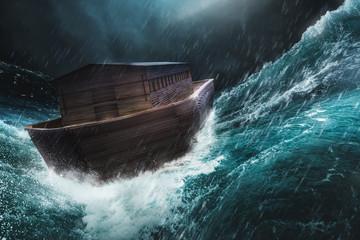 Fototapeta Noahs ark in a storm / 3d illustration, mixed media obraz