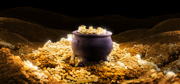 3D illustration of a cauldron on a pile of golden coins