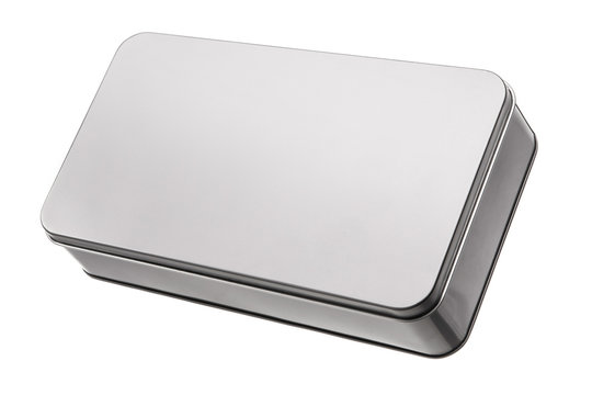 silver metal box isolated on white background.