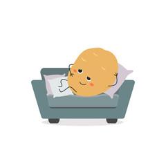 Couch potato funny cartoon character