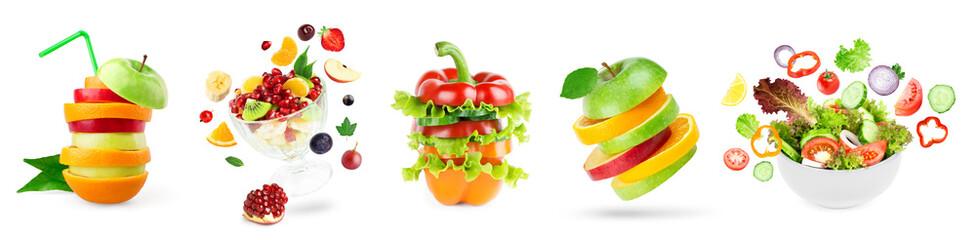 Foto op Plexiglas Keuken Stack of fruits and vegetables. Fruit and vegetable salad.