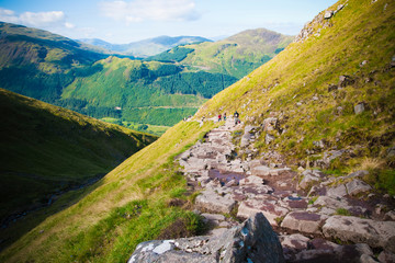 Stony path of ascent to Mount Ben Nevis, highest peak in the United Kingdom.