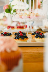 Red fruits on puff pastry tartlets, colorful and well focused.