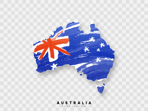 Australia detailed map with flag of country. Painted in watercolor paint colors in the national flag