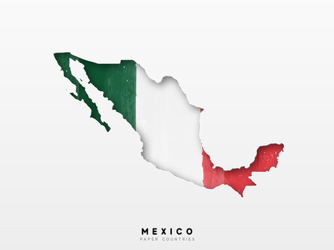 Mexico detailed map with flag of country. Painted in watercolor paint colors in the national flag