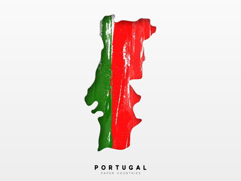 Portugal detailed map with flag of country
